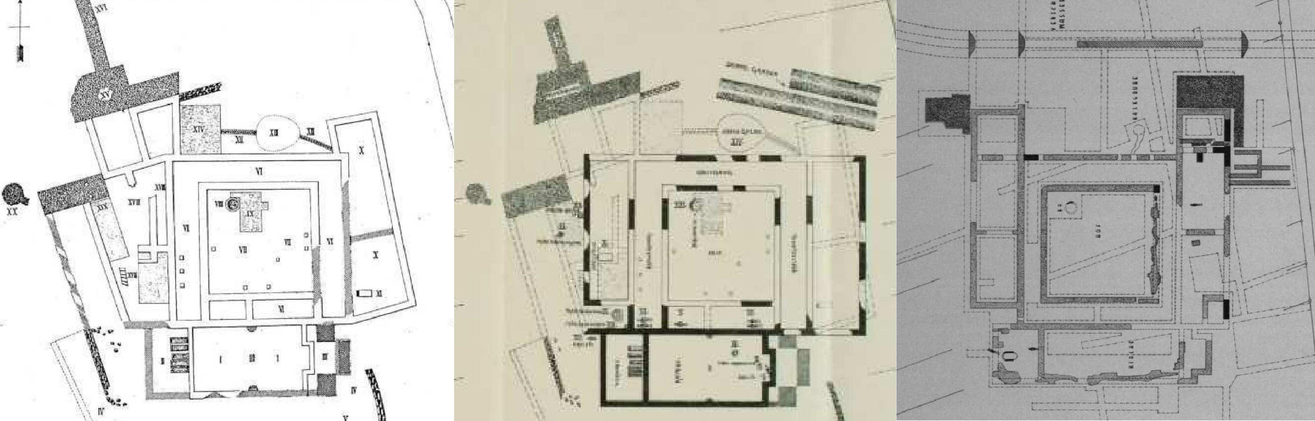 Abb. 1 Übersichtspläne der Ausgrabungsbefunde auf der Kreuzwiese. von links F. Kofler, mitte H. Giess, rechts F. Behn